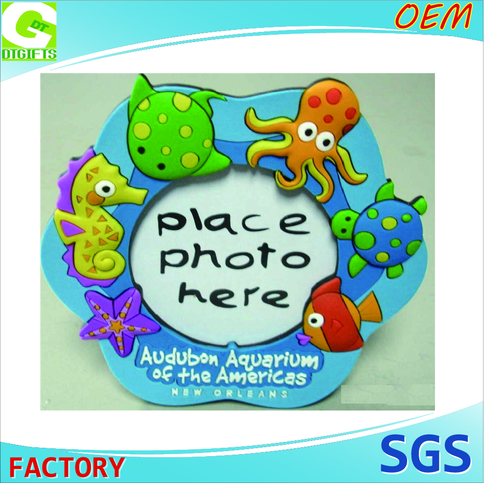 3D mini Customized logo theme park Photo Frame pvc rubber frame