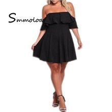 Smmoloa Women Casual Big Large Size Sexy Off Shoulder Plus Size Dress