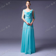 Fast Delivery Real Sample New Evening Dress Ice Blue Flowing Chiffon Evening Dress With Sleeves