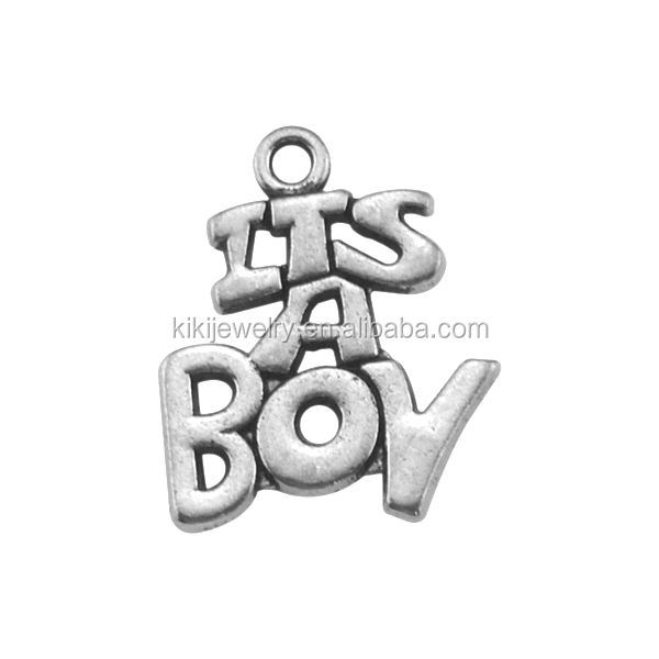 Online Shopping Cheap Zinc Alloy Antique Silver Plated It's A Boy Word Charms