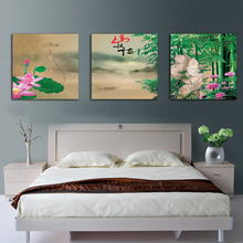 Nature Scenery Design Bamboo Canvas Chinese Lotus Flower Canvas Oil Painting