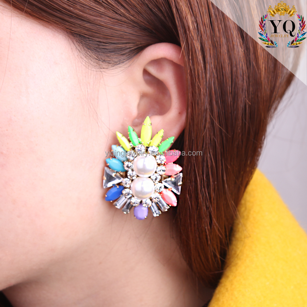 EYQ-00446 acrylic earrings wholesale light colorful with imitation cheap faux pearl rhinestone stud earrings