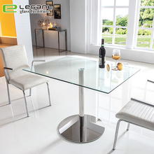 Square Tempered Glass Bar Table on Stainless Steel Base