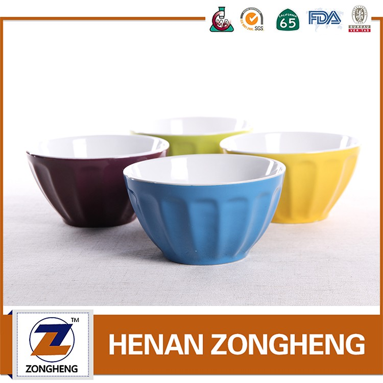 "5.5""embossed stoneware fruit bowl for 6 people use from china"