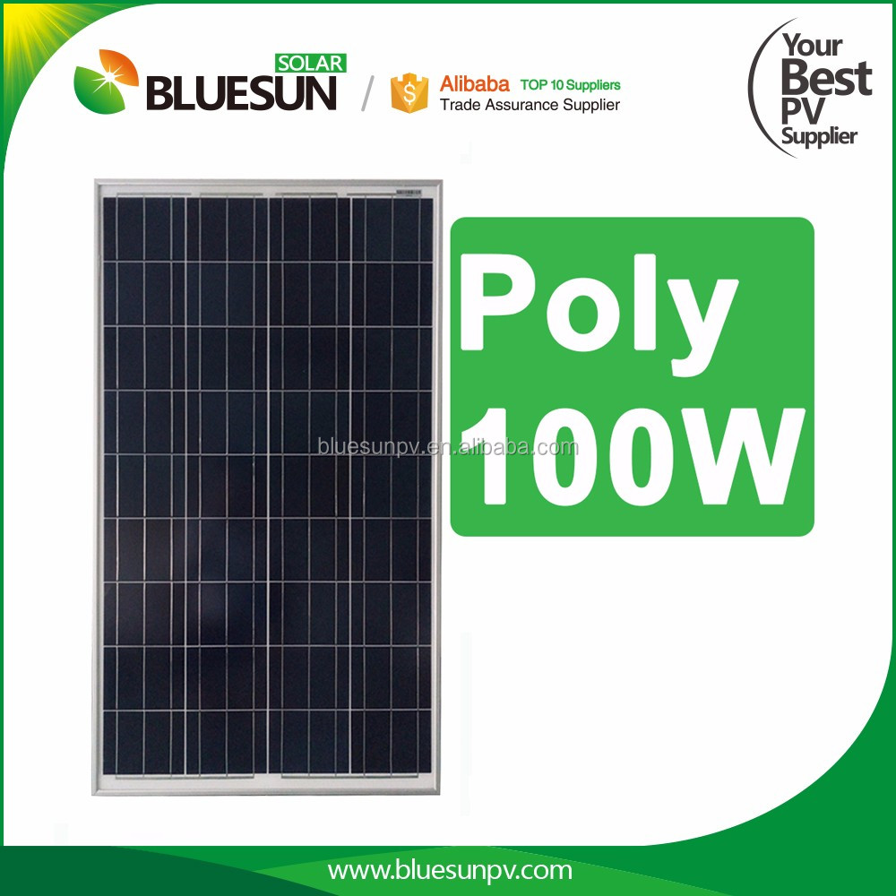 Bluesun solar energy system 12v poly 100w price per watt solar panel