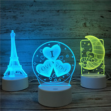 3D Illusion Led Night Lights Large Heart Shape Acrylic Table Lamp Home Decoration Magical Mood Light for Christmas Gifts