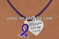 purple cancer awareness ribbon with engraved letters silver heart pendant necklace (A107273)
