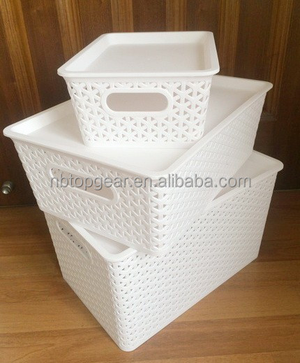 Rattan plastic storage basket with lid / Woven pattern plastic basket with handle