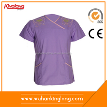 chinese collar embroidery Purple nurse scrub suit design