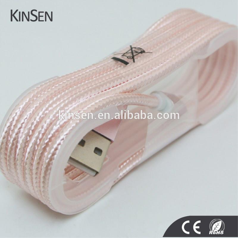 Quick Shipping Trade Assurance Pink Phone Micro USB Nylon Cable