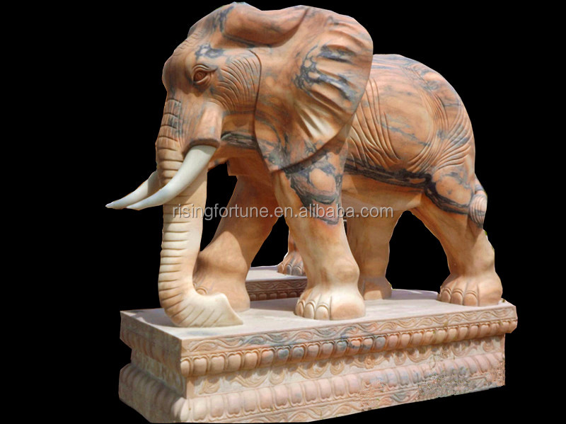 Red marble elephant sculpture