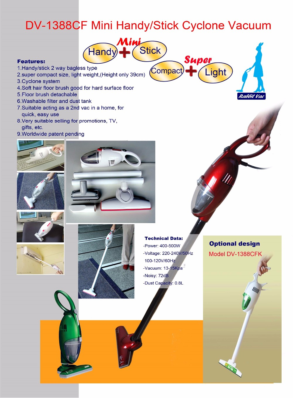 500W High Performance Handy Vacuum Cleaner Hand Stick 2 in 1 Vacuum Cleaner