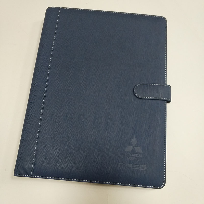 wholesale long type leather meeting folder, high-quality imitation folder with multi card clip