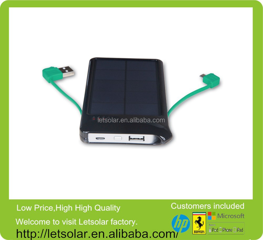Best sale 5000mah price per watt solar panels ,solare power bank with USB input & Micro USB output cables built in