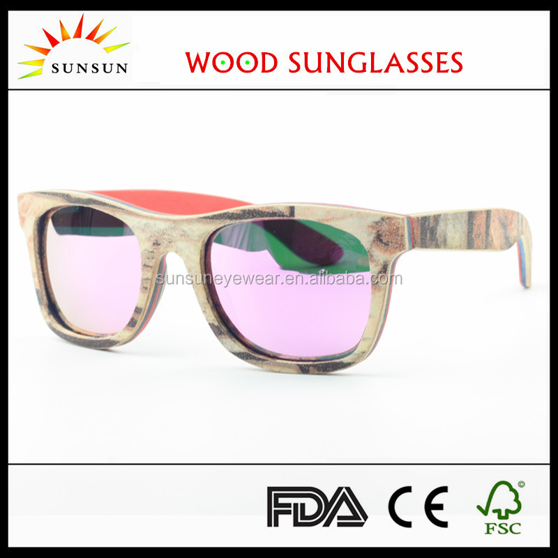polarized lens red wood sunglasses with box