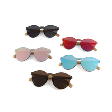 2018 trending products unique rimless frame wholesale bamboo sunglasses