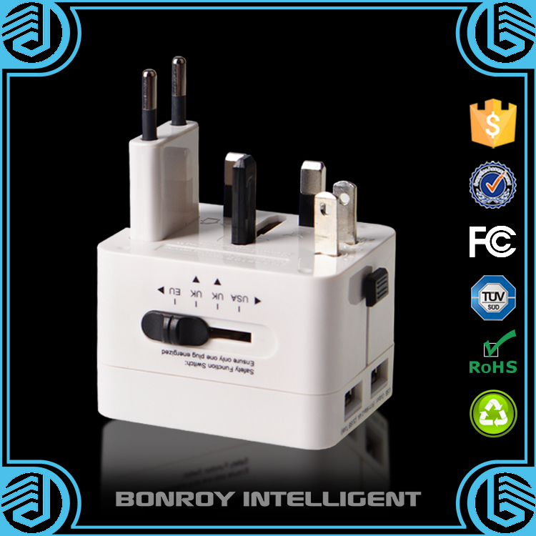 2015 factory hot wholesale all in one folding universal cheap travel adapter with dual usb