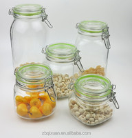 Square Hermetic Glass Storage Jar with Silicon Ring ,Glass Honey Jar