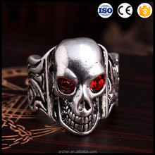 Vintage Accessories Fashion Jewelry Gift Adjustable Color Crystal Ring Hot Punk Cute Skull Silver Plated Opening Rings RI-018