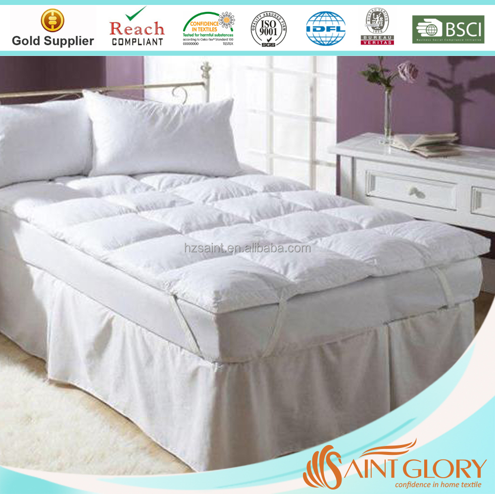 Saint Glory Featherbed 233TC Thread Count Cotton Duck Filled Featherbed Queen Mattress Topper White Mattress Pad