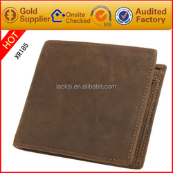 Top quality brown crazy horse leather wallet for men