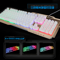 Suspension Mechanical Keyboard With 19 Anti-Ghost Keys,LED light Wired USB Gaming Mechanical Keyboard