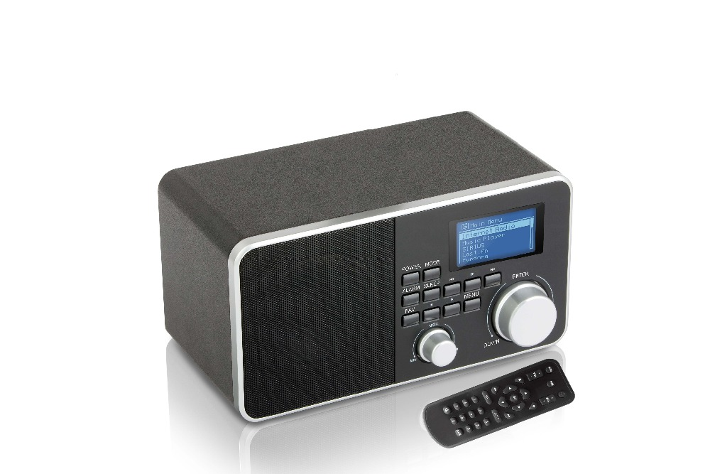 Mini Wooden MP3 Stereo System and FM Clock Radio Built-in Rechargeable Battery (Black)