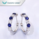 14 K white Gold earrings moissanite round brilliant cut and synthetic sapphire earrings