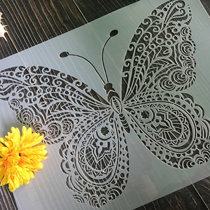 Butterfly Wall Decor Stencil - Mandala Butterfly Stencil (12x16 Inch) Painting on Floor Wall Fabric Furniture Wood Stencils
