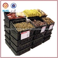 retail store stackable storage bin for vegetables and fruits