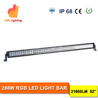 Best price two row 288w 50inch RGB colorful atv led light bar for excavator dozer road roller boat for car
