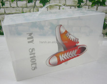 foldable DIY transparent plastic shoe storage box with handle