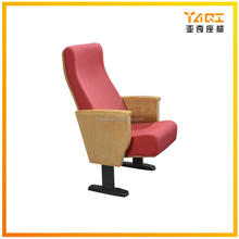 New design push back 2 seats folding fabric wood armchairs lecture hall seating moveable auditorium chair YA-01
