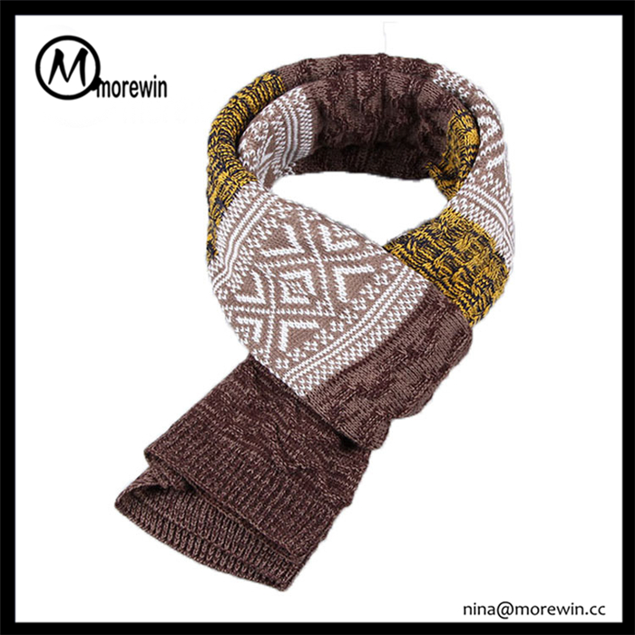 2016 Morewin brand fashion men's scarf custom multicolor long winter scarf for men