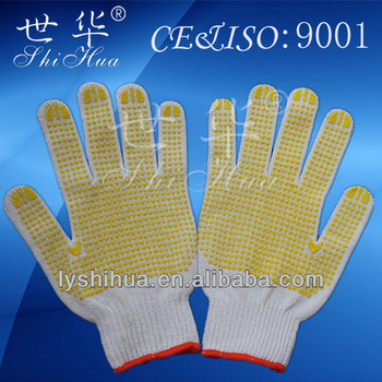 Hot selling Yellow pvc dotted gloves ,Cotton gloves
