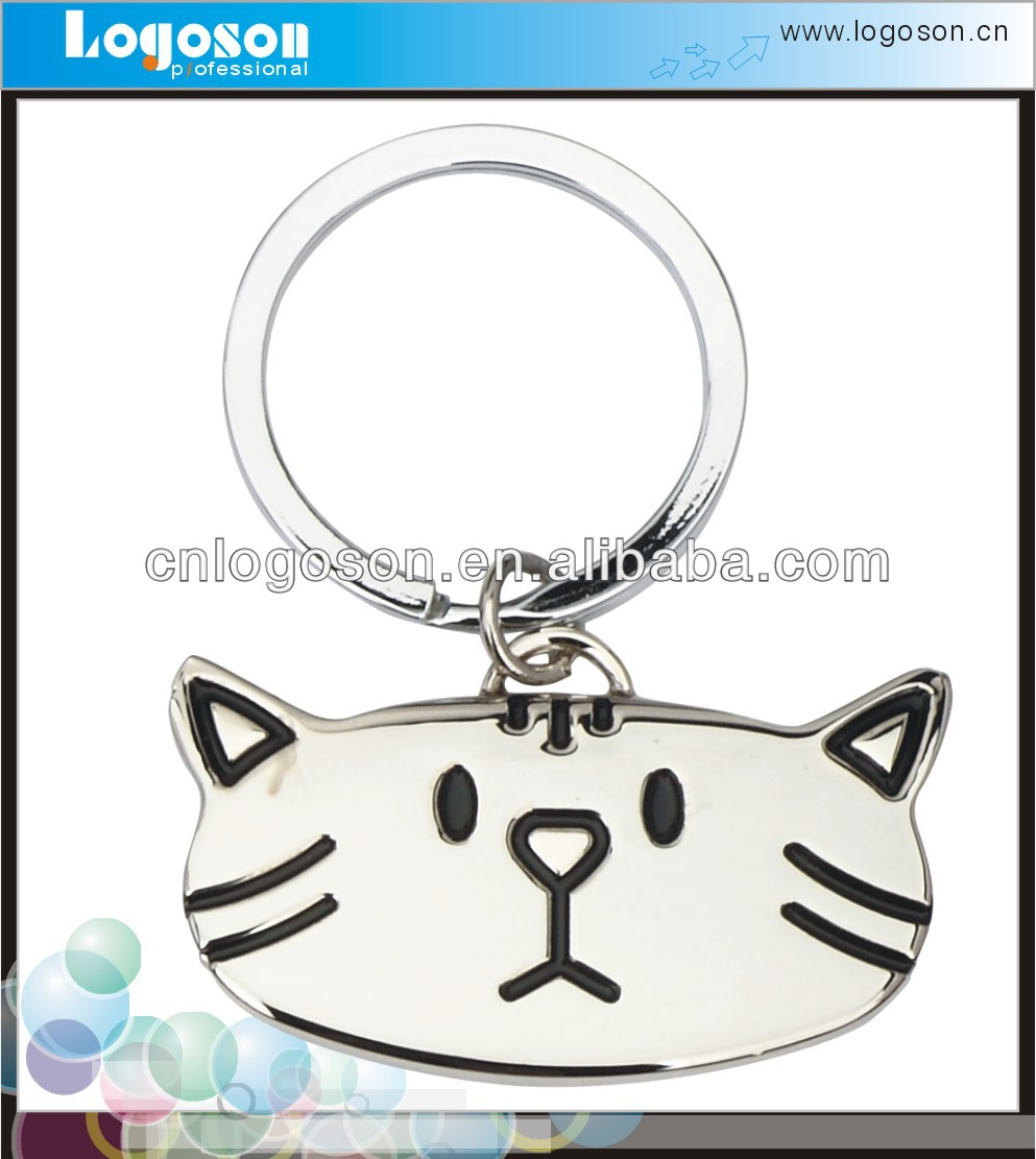 Promotional item cute metal cat keychain