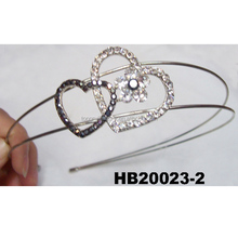 crystal heart double thin metal headbands