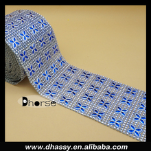 10 Yards 24 Row Blue Plastic Crystal Rhinestone Ribbon- Wedding Cake Bling Banding Trim Rolls DH-PM019