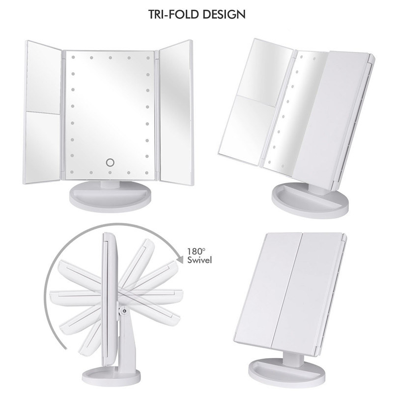 3 sides led makeup mirror with 2X3X10x magnifying desktop vanity mirrors