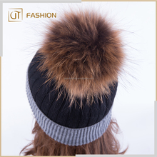 Hot Sale Good Quality Raccoon Fur Pom Pom for Women Winter beanie Hat