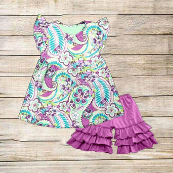 2017 floral pearl dress match icing ruffle shorts baby clothes boutique girl clothing whosale