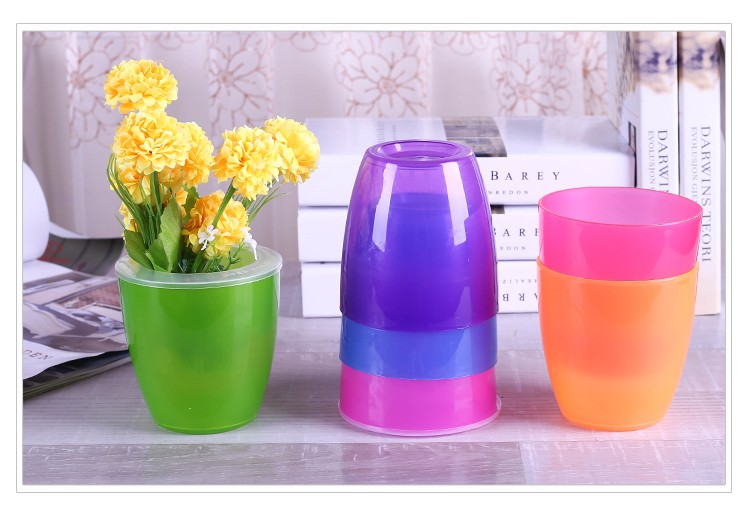 Colorful smart tabletop plastic flower pots with cheap price