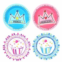 10pcs Dessert Paper Plates Supplies Birthday Party Decorative Crowne Tray Cake Disposable Tableware Plates