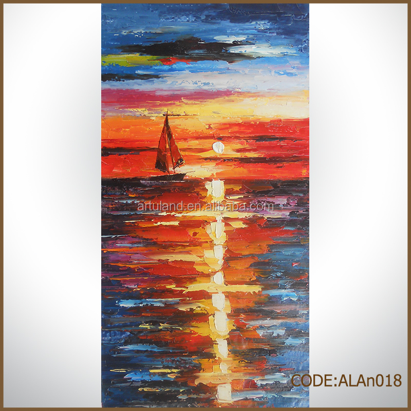 Colorful Sunset landscape canvas oil painting boats
