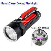 Hand Carry 4x C ree XM-L2 LED Stepless Dimming Diving Flashlight 5000lumens for 2 x 26650