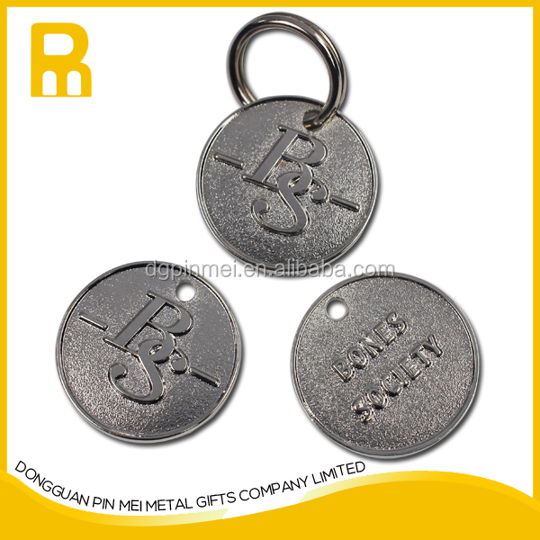 Laser engrave QR Code Stainless steel Dog Tag CIRCLE Tag Custom Engraved Pet Tag