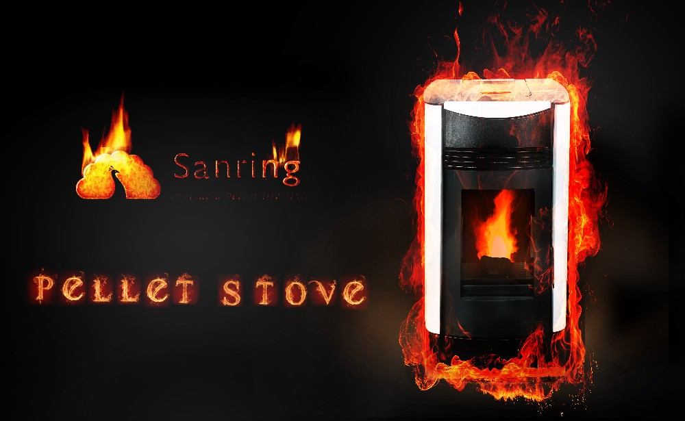 High efficient 9 KW wood burning pellet stove combined