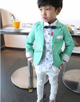 2014 New design Korean Style children coat+white pant 2 pcs children suits tuxedo