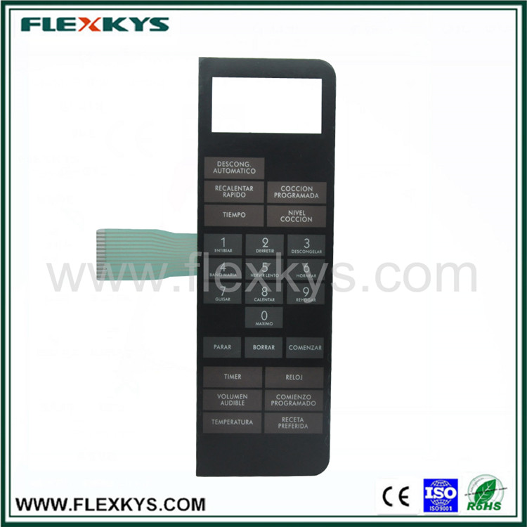 High Qulaity Corrosion Resistant Membrane Switch with Carbon Ink Shield for Microwave Oven