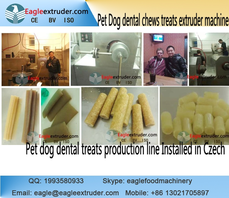 DP100 pet dog food treats dental chews extruder production line